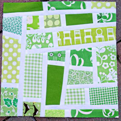 green mod mosaic quilt block