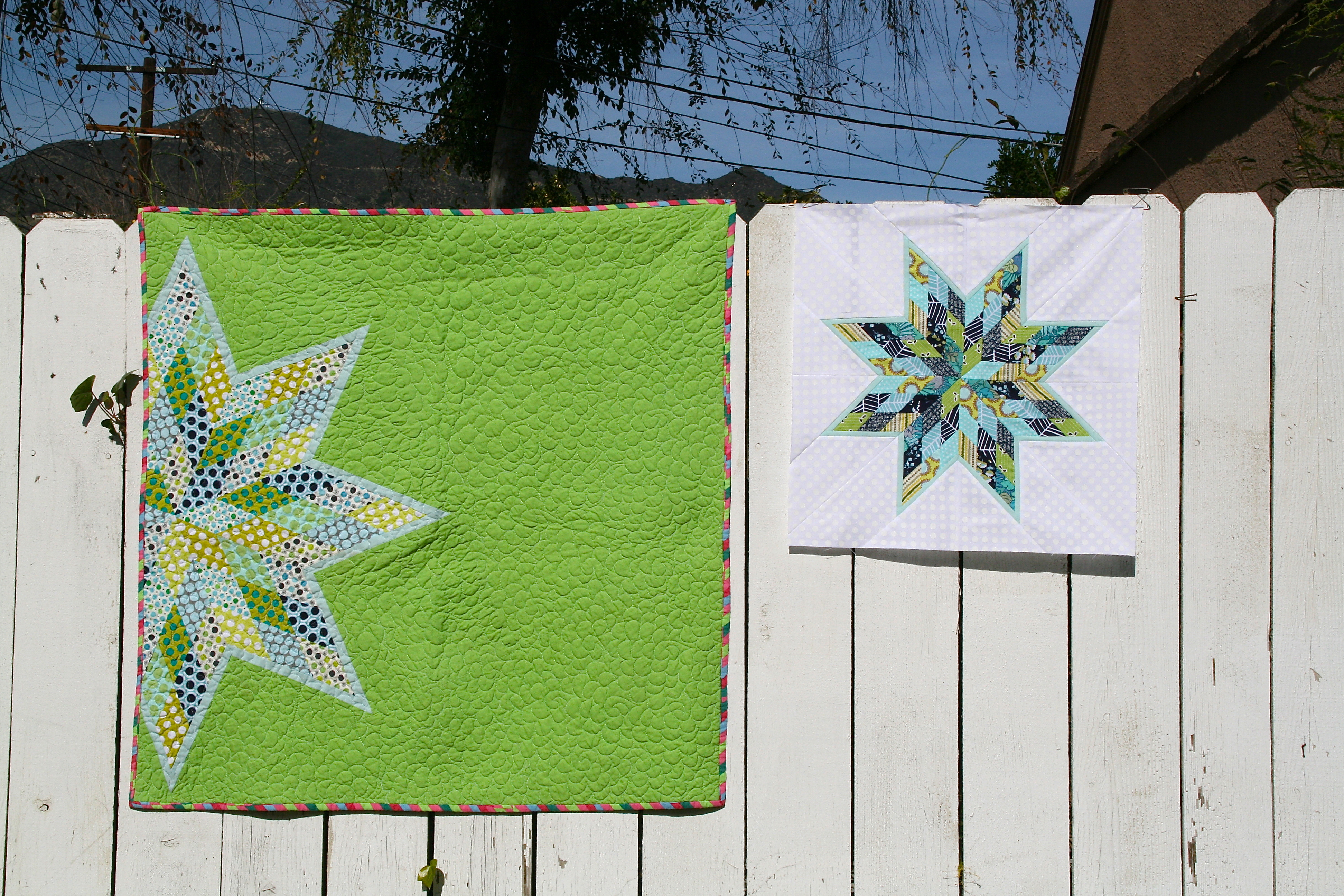 Lone Star Quilt Pattern Queen Size : Scrappy Lone Star Block