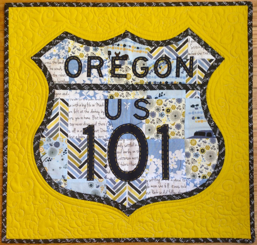 Highway 101 mini quilt by Better Off Thread